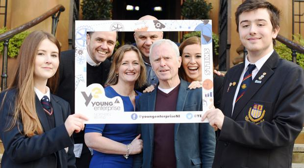 Orla Harney, Aquinas Grammar School, with (back) Young Enterprise ambassador Pete Snodden; Young Enterprise chairman Ciaran Sheehan; and (front) Young Enterprise chief executive Carol Fitzsimons, Young Enterprise ambassadors Bill Wolsey and Cathy Martin, and Ethan Mercer of Belfast Boys' Model School
