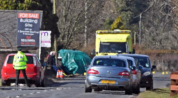 The scene at yesterday's crash on the Nutts Corner Road in Antrim