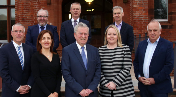The judges, back (l to r): Damien Duffy, Belfast Met, John Hansen, KPMG, Barry Quinn, Ulster University. Front (l to r): Richard Donnan, Ulster Bank, Tanya Anderson, NI Chamber, John Simpson, Kirsty McManus, IoD, and social enterprise expert Colin Stutt