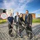 From left, Cycling UK chief executive Paul Tuohy, Sustrans Northern Ireland director Gordon Clarke, Victoria Willetts from Concentrix and John Healy of Allstate NI