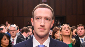 Facebook CEO Mark Zuckerberg testifying at the US Senate hearing this month about data handling