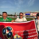 From left: Paul Alexander, Simon Spence and Steven Earney outside the Spartak Stadium in Moscow after Saturday's game between Argentina and Iceland