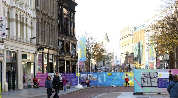 Donegall Place in Belfast city centre, which has been separated from Royal Avenue by the safety cordon