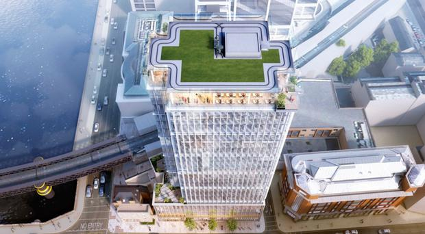 An artist's impression of how the Tara Street tower will look