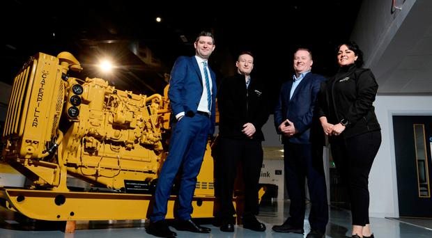 Christopher Morrow (Head of Policy at NI Chamber); Stephen Martin (Environment Manager at Caterpillar NI); Mark McClure (Director of Caterpillar NI) and Natasha Sayee (Senior Lead Public Affairs Specialist at SONI).