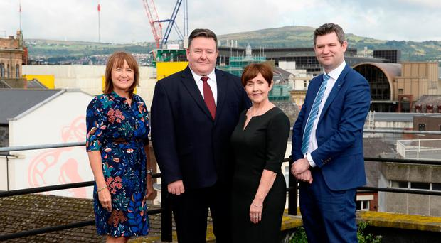 From left: Ann McGregor, chief executive of NI Chamber, Brian Murphy of BDO, economist Maureen O'Reilly and Chris Morrow of NI Chamber