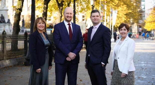 Ann McGregor and Chris Morrow from the NI Chamber, Michael Jennings of BDO and Maureen O'Reilly, an economist with the QES