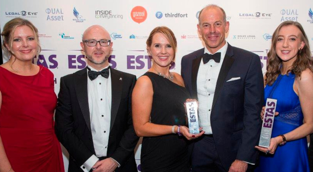 Staff from Wilson Nesbitt Solicitors at the recent ESTAS awards with host Phil Spencer (fourth left)
