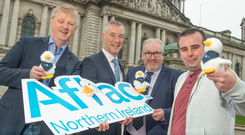 In Belfast are (from left) Mark McCormack, head of technology at Aflac NI; Graeme Wilkinson, director of skills at DfE; Damian Duffy, director of development at Belfast Met, and Ruairí Mahon, senior Pega developer at Aflac NI