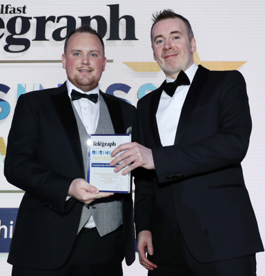 Winner: Young Business Person of the Year Declan Murdock of AJC Group receives his award from Paul Mulvenna, Direct Medics Healthcare at last year's awards