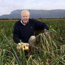 Gerald Miller in one of his fields of onions. The Miller family has been farming land in the Roe Valley for several generations and today, they are the largest producer of onions in Northern Ireland