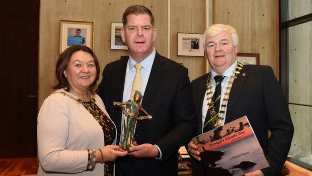 Mayor of Derry City and Strabane District Council Michaela Boyle, Boston mayor Marty Walsh and Nicholas Crossan, chairman of Donegal County Council during the trade mission to America