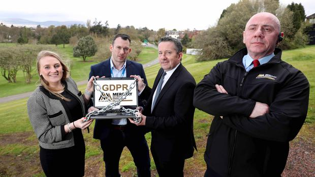 At a recent Mercury Security GDPR workshop, which was run in association with Global QA Consultants and Arthur J Gallagher, are (from left) Lois Hayes from Global QA Consultants, Barry O'Hare from Mercury Security, Simon Aldred from Arthur J Gallagher, and Irwin Haggan from Mercury Security