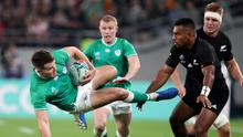 The Ireland rugby team in action against New Zealand during World Cup