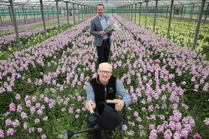 Conor Boyle, regional director of Lidl NI, and Greenisland Flowers managing director, Shane Donnelly