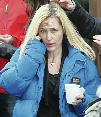 Gillian Anderson  during the filming of Our Robot Overlords