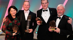 EY Entrepreneur Of The Year award winners (from left) Elaine Sullivan (Carrick Therapeutics), Peter Coppinger and Daniel Mackey (Teamwork) and Bill Wolsey
