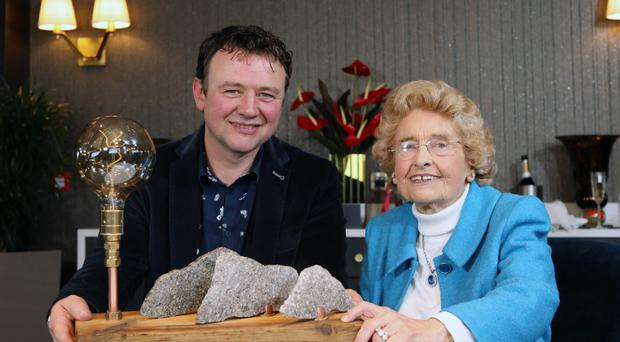 Eoin Shanley presents Lady Hastings with bespoke lamp