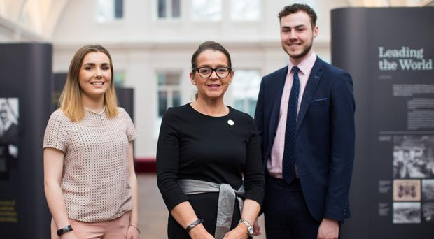Deloitte senior partner in Belfast Jackie Henry (centre) with BrightStarts Orlaith Duffy and Ryan Hamill