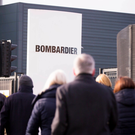 Workers outside a Bombardier factory in Belfast