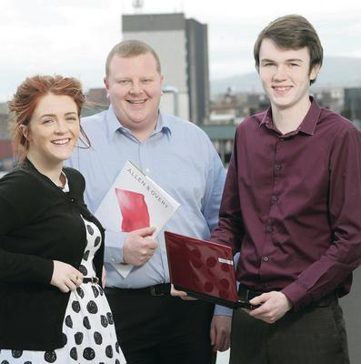 More than 50 apprentices have already benefitted from our campaign. Dr Jonathan Heggarty (left) of Belfast Met with apprentices Niamh Donegan and James Reynolds