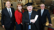 Denis Maloney, Belfast solicitor and UU visiting professor of Law, Professor Una McMahon-Beattie, head of the tourism department of UU, with Niall McKenna, and Professor Alastair Adair, Deputy Vice Chancellor