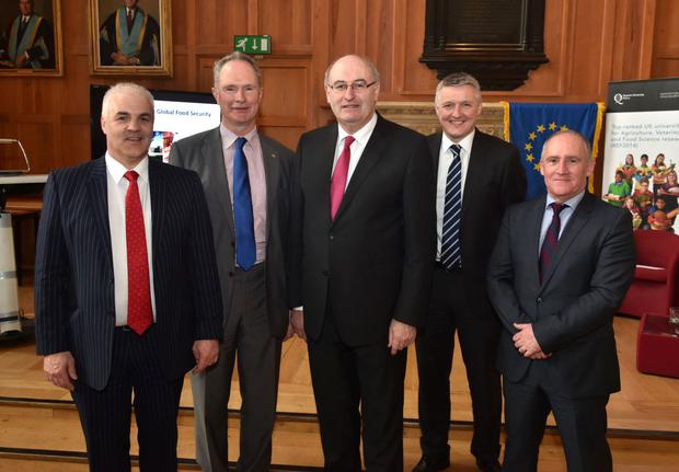 From left: Devenish Group CEO Richard Kennedy, Devenish Group executive chairman Owen Brennan, EU Commissioner for Agriculture and Rural Development Phil Hogan, CEO Devenish UK and Ireland Patrick McLaughlin and Devenish Group executive vice chairman Peter Wallace