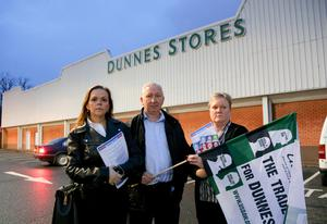 USDAW members Michala Lafferty, Raymond Neal and Nicola Scarborough outside Dunnes Stores at the Park Centre