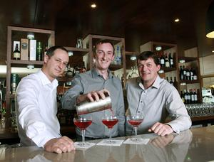 (l- r) Colin Brown, Bar Manager, Tate's Bar & Grill; Mark McElroy, Director, Marcon Fit-Out; Thomas Doyle, Contracts Manager, Marcon Fit-Out