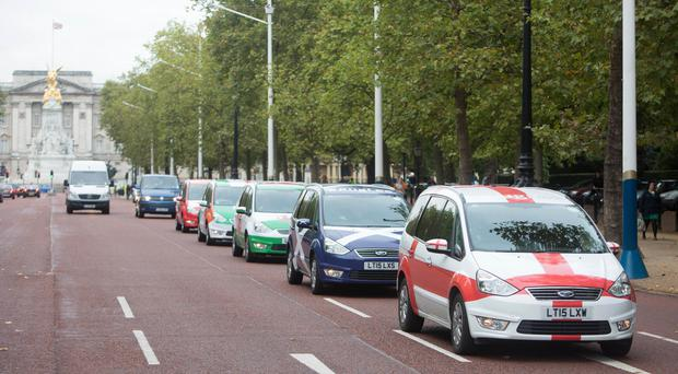 Addison Lee cars in rugby-themed colours
