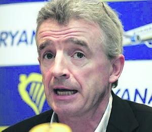 3/8/2011. Michael O'Leary, Chief Executive of Ryanair at a press conference in Dublin to announce that Ryanair has become the first European Airline to carry a record 8m passengers in one month. Photo Eamonn Farrell/Photocall Ireland