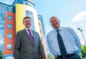 Andrew Gawley (left), from Lisney, with Dino Karmiotis, from GSK, at the Quay Gate House