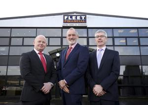 From left, Fleet Financial's operations director Brian Casey, sales and marketing director Philip Miley and managing director Damian Hughes