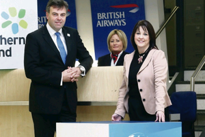 Invest NI chief executive Alastair Hamilton, left, and British Airways partnership manager Brenda Morgan, right, at the International Export Challenge launch