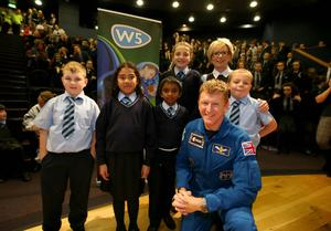 Major Peake also spoke at W5 about the importance of space exploration with Belfast schoolchildren and politicians