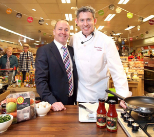 SuperValu Ballymoney store owner, Peter McCool and the store's ambassador chef, Noel McMeel