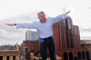Ryanair chief Michael O'Leary at the launch of the airline's return to Belfast last year