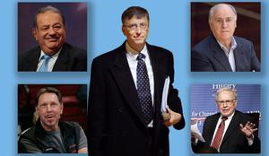 Clockwise from main: Bill Gates, Carlos Slim Helu, Amancio Ortega, Warren Buffett and Larry Ellison