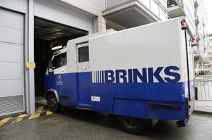 A security van with the familiar livery of Brinks