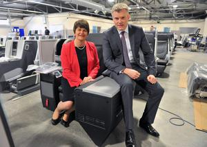 First Minister Arlene Foster on a visit to Thompson Aero with CEO Gary Montgomery
