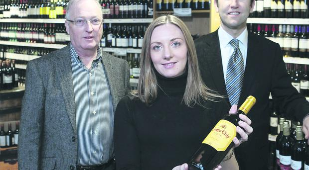 Andrea Carson, sales and marketing manager of WineFlair, with managing director Alan McGuinness and Martin McLean, senior business manager at Bank of Ireland
