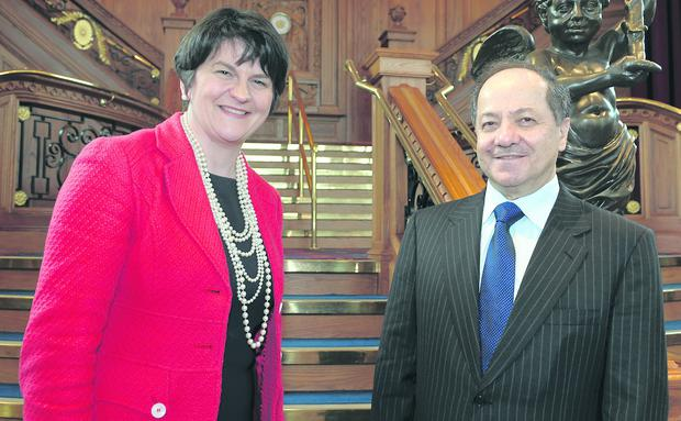 Enterprise Minister Arlene Foster is pictured at Titanic Belfast with His Excellency Masoud Barzani, President of the Kurdistan Region of Iraq.