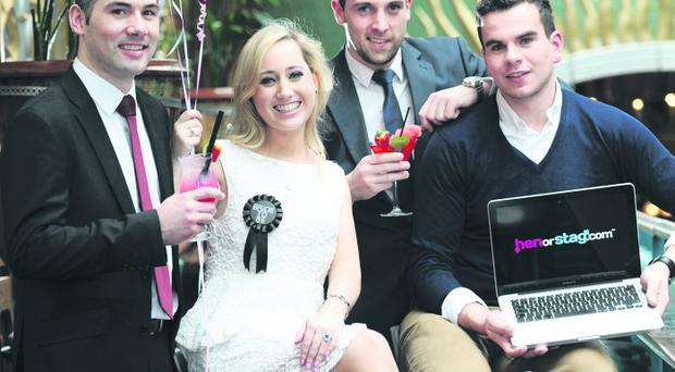 Jonathan Gallagher (far left) and Sean Carty (second from right) with Mark Rooney and Victoria Clarke, who have been using the websites to organise stag and hen events