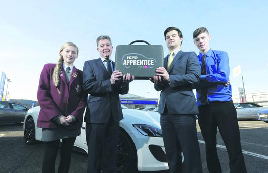 Colin McNab, operations director of Charles Hurst, with Andrew Wallace from Business in the Community, Jordan Mullan from De La Salle and Anthea Harbinson from Girls Model