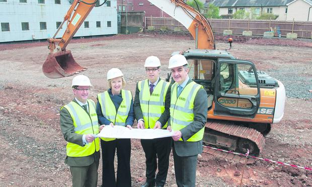 At the site of Queen's new centre for experimental medicine were Professor Patrick Johnston and Norma Sinte from Queen's, along with Cathal O'Hare from O'Hare and McGovern and Queen's director of estates, Gary Jebb