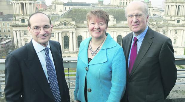 Dr Patrick Dixon, Ellvena Graham and Sean Dorgan, the chairman of the Ulster Bank