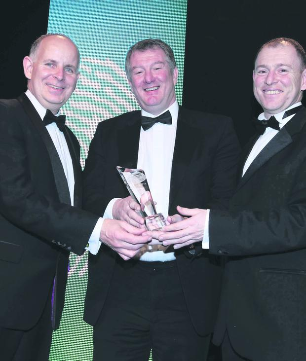 At the Deloitte Awards event were (from left) Brendan Jennings, managing partner, Deloitte; Les McCracken, MD, McCue Interior Fit-Out Solutions, and David Harney, CEO, Irish Life Corporate Business