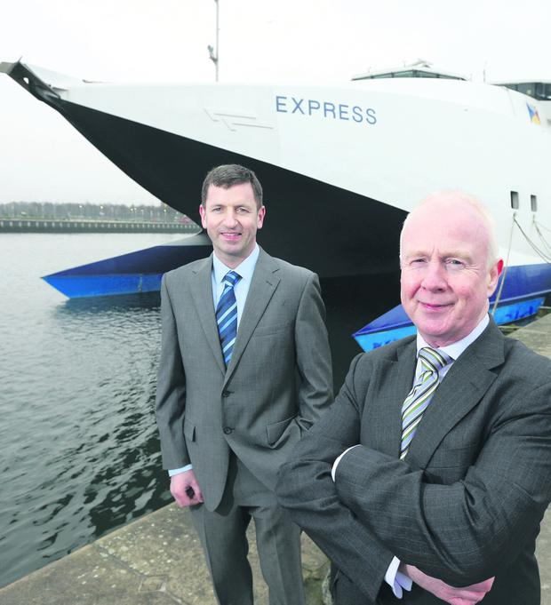 With the P&O Express in the background are (left) Martin Lees, Blu Marine project manager, and Keith Millar, head of operations for P&O Ferries, Irish Sea