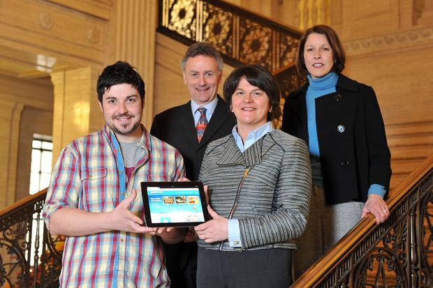 Aaron Taylor, CEO of gaming company GoPrezzo, Mike Bowman, director of E-Synergy, Enterprise Minister Arlene Foster and Gillian McKeown of Invest NI