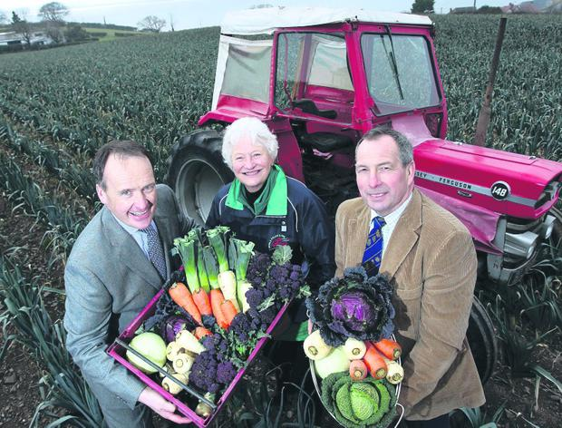 Dame Mary Peters, Patron of 2013 World Police and Fire Games, checks out the local produce that international athletes can look forward to this summer along with John Best, chairman of Food NI, and Howard Hastings (left), Food NI board member.